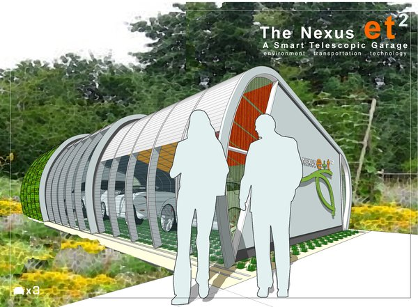 Winner: Nexus et2 by Chunsheh Teo  The inspiration for the design concept was derived from the notion of transforming the nostalgic iconic form of a hay roll into the Nexus e+t 2 – a smart telescopic garage that merges and links the e (environment) and t 2  (transportation + technology) by creating a smart and flexible hybrid design for its users. The telescopic skin movement is connected to a sensor and runs on tracks on the floor; it will expand and contract the garage either automatically or with user settings. This feature provides the flexibility of housing for up to three vehicles. With the flexibility of the design, the system can also be customized to a one- or two-car garage.   Read more here.