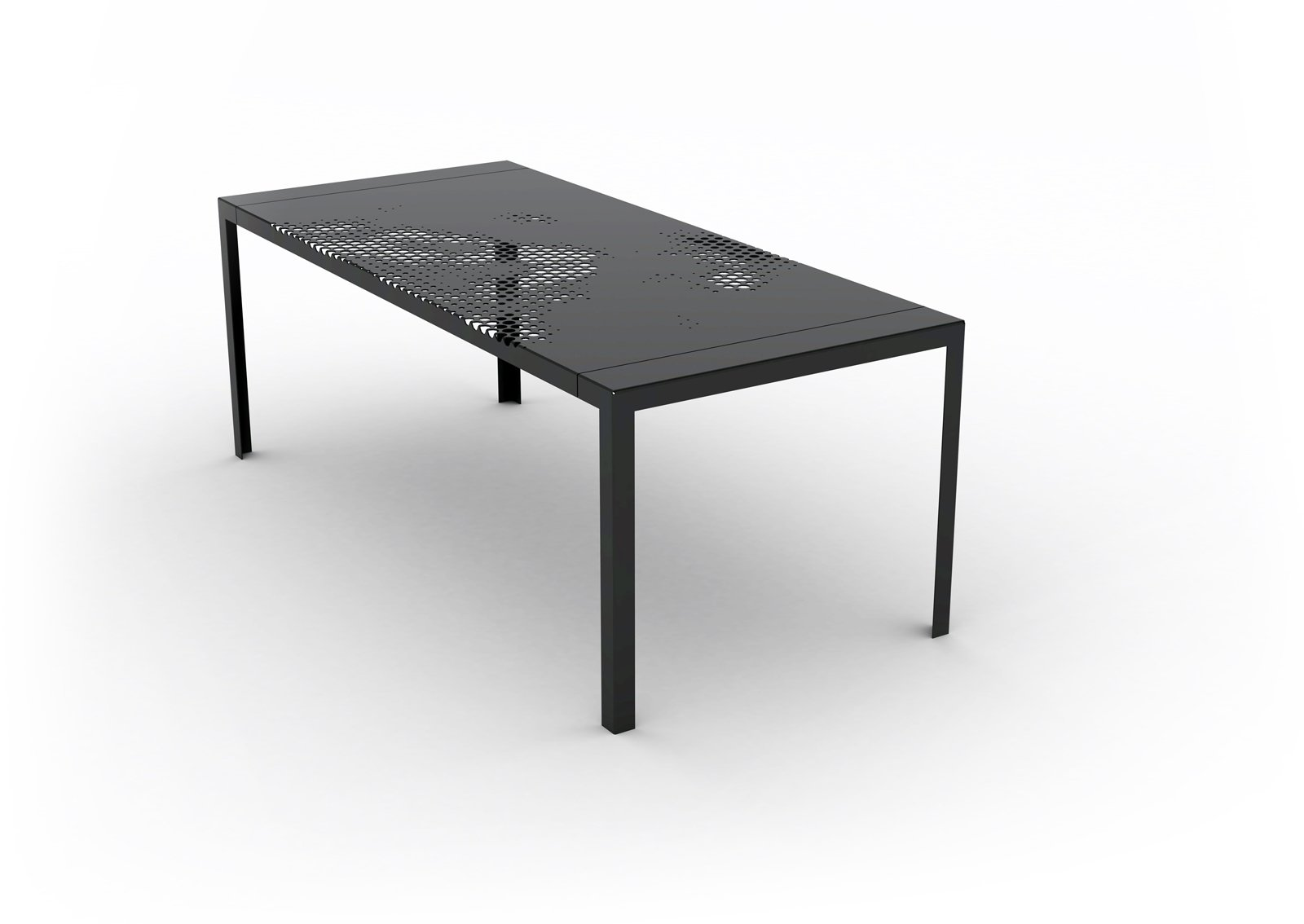 """HAY Hole Plate Table by KiBiSi. Designed in 2009 for the 8 House in Copenhagen with reference to the Mountain Dwellings by BIG. In stores in 2010  Photo courtesy of KiBiSi  Search """"norm lunch plate"""" from Kilo Design + BIG + Skibsted Ideation"""