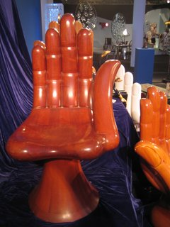 Though I don't have any Pink Floyd posters in my house, I do have a soft spot for these hand chairs from Pedro Friedenberg. Fittingly, Friendeberg's other work is as a surrealist painter and architect. I don't believe that this palm seat was made of palm wood, but as spots for sitting go, this is your right hand chair.