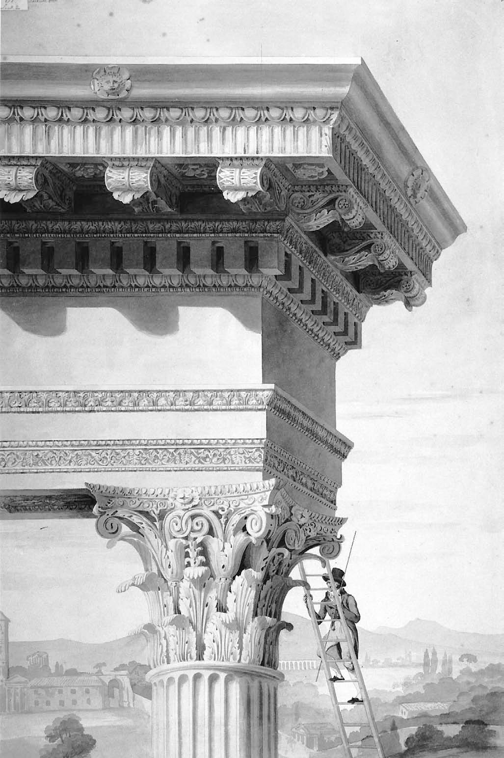 This drawing taken from Roman Forum by David Watkin is by Henry Parke (c. 1810) and shows a student of architecture climbing up to the top of the Temple of Castor and Pollux, measuring rod in hand. The drawing shows an idealized temple, not the ruin that Parke would actually have seen.  Photo 2 of 4 in Wonders of the World