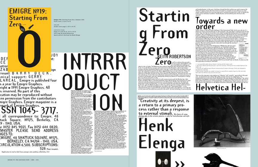 Emigre No. 70, book spread showing images from issue no. 19  Photo 2 of 9 in Emigre No. 70