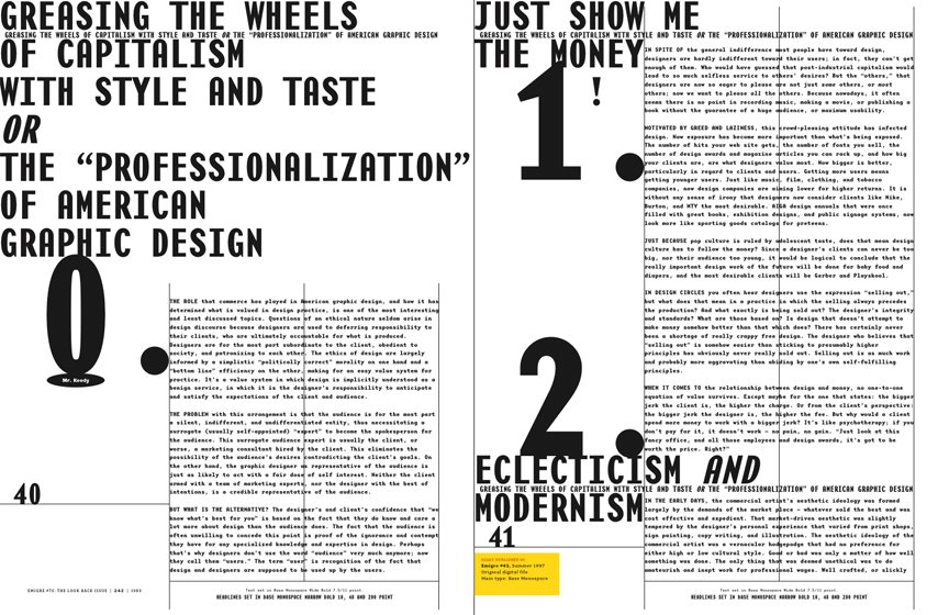 Emigre No. 70, book spread showing reprints from issue no. 43  Photo 4 of 9 in Emigre No. 70