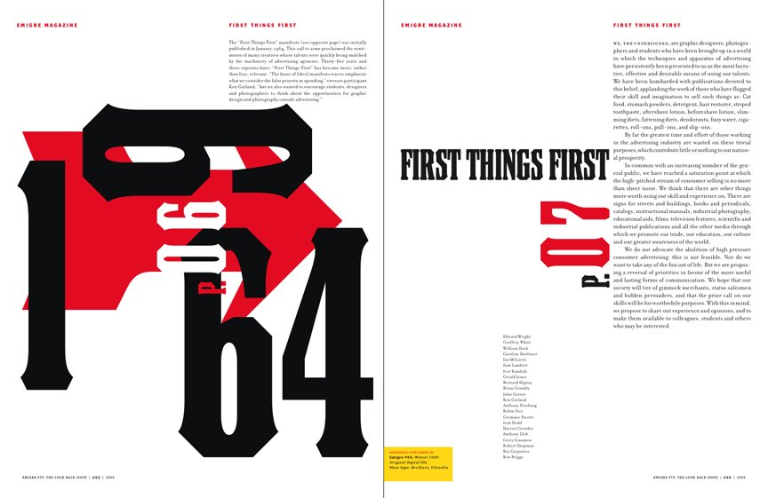 Emigre No. 70, book spread showing reprints from issue no. 49  Photo 5 of 9 in Emigre No. 70