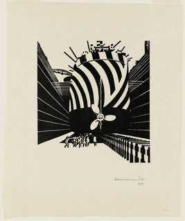 """This woodcut by Edward Wadsworth was one of my favorites of the show, not just for the woozy geometry and bracing perspective, but because it's so clearly enthralled with the machine age. Entitled """"Drydocked for Scaling and Painting (Liverpool),"""" it's one of several wonderful Wadsworths in the show."""