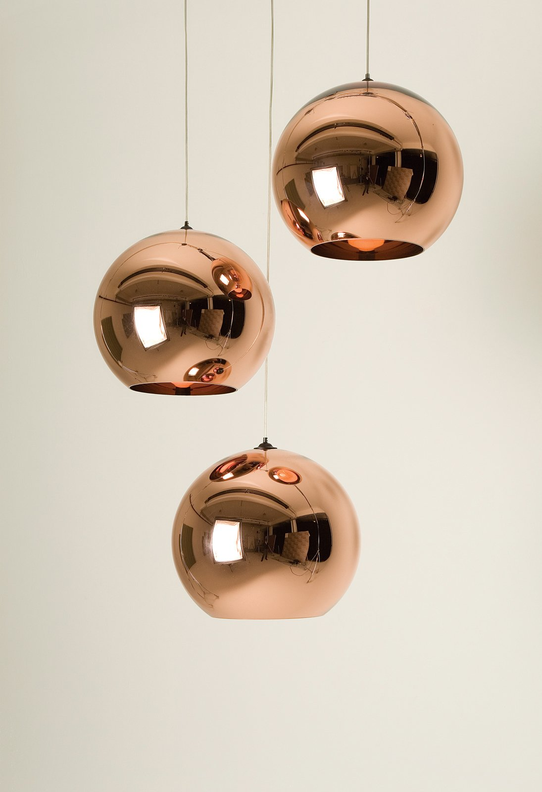 Living Room and Pendant Lighting Tom Dixon's Copper Shade pendant lamps reflect his background in metalwork.  Photo 3 of 8 in Tom Dixon