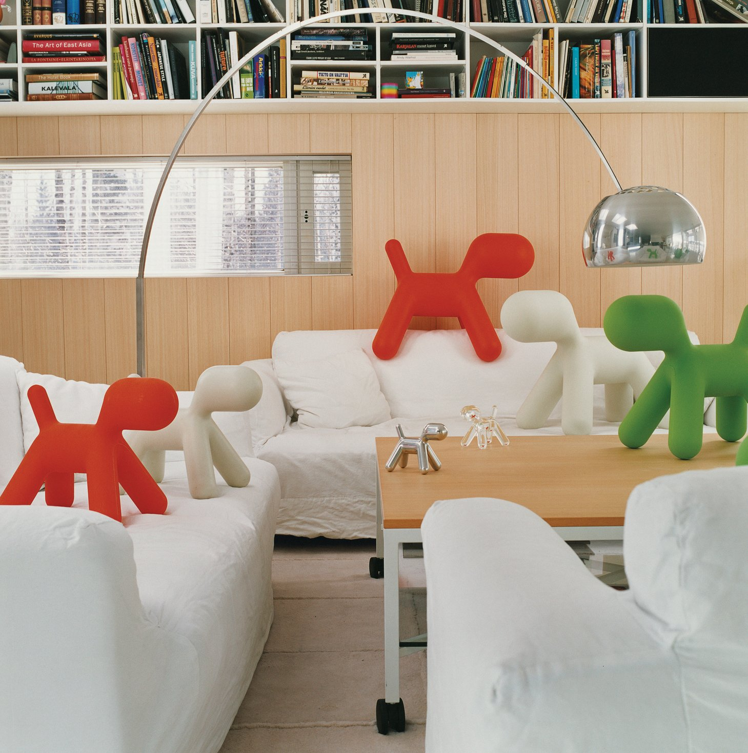 A proliferation of Puppies, Aarnio's 2005 design for Italian manufacturer Magis, gather in the living room of his Veikkola, Finland, home. Aarnio's playful spirit, evident in the iconic Ball Chair, is alive and well in his new work.  Photo 2 of 13 in Furniture Designer Focus: Eero Aarnio