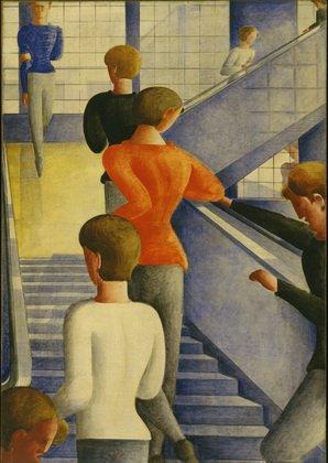 "Oskar Schlemmer. Bauhaus Stairway. 1932. Oil on canvas. 63 7/8 x 45"" (162.3 x 114.3 cm). The Museum of Modern Art, New York. Gift of Philip Johnson. © 2009 Estate of Oskar Schlemmer, Munich/Germany  Photo 4 of 4 in Events this Weekend: 1.14-17"