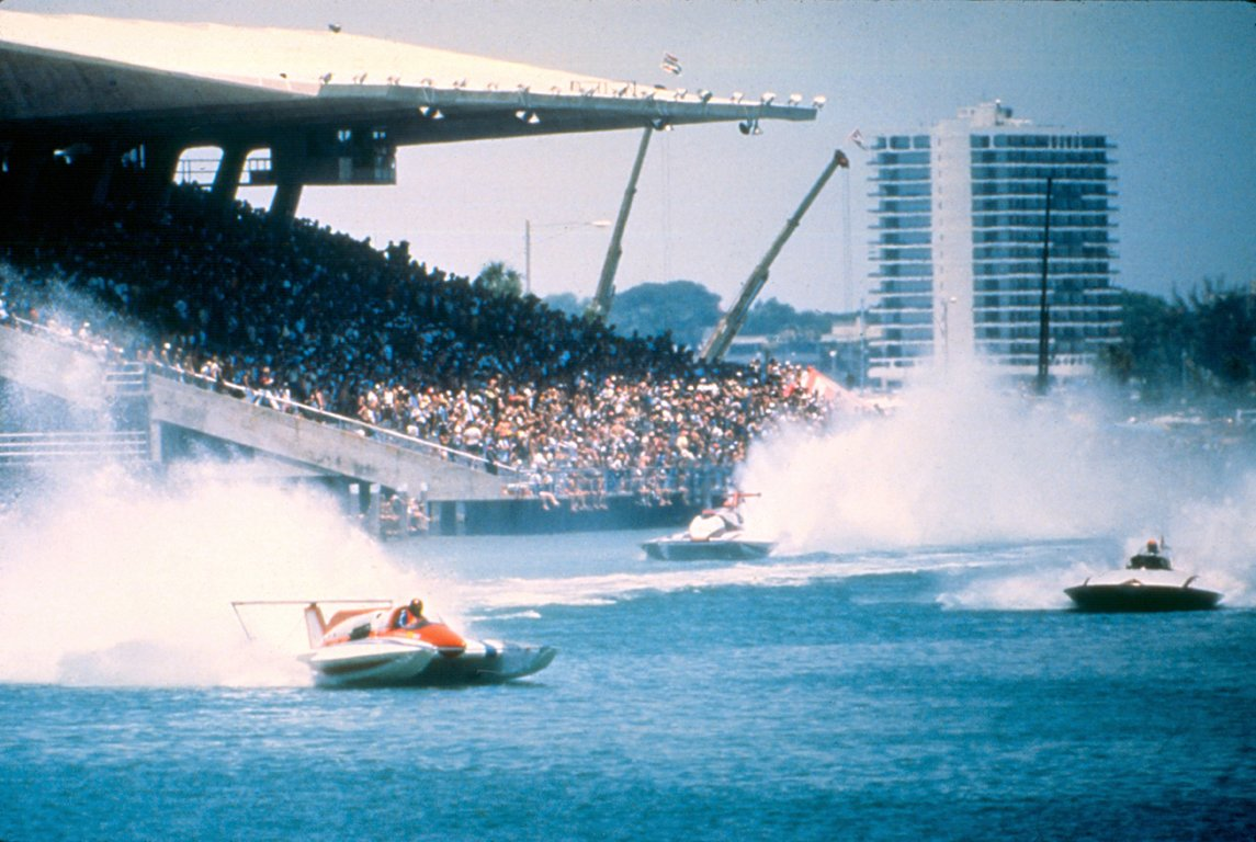 Boat racing at Miami Marine Stadium, designed by Hilario Candella, was a popular spectator sport. Today the stadium is an imperiled modern masterpiece.  Photo 3 of 13 in Miami Modern Metropolis