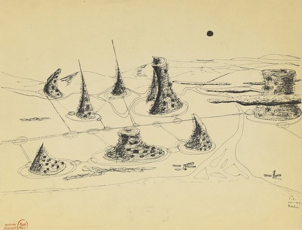 Cosmic City (aerial perspective), 1963  Ink on paper  8 3/4 x 11 3/4 inches  Iannis Xenakis Archives, Biblioth�que nationale de France, Paris