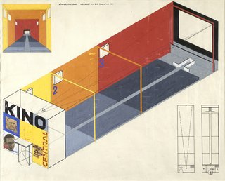<i>Design for a Cinema</i>, Herbert Bayer, 1924–1925, gouache, cut-and-pasted photomechanical and print elements, ink, and pencil on paper, 21.5 x 24 inches, 54.6 x 61 centiemters.