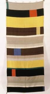 <i>Wallhanging,</i>&nbsp;Anni Albers, 1925, wool, silk, chenille, and bouclé yarn, 99 x 37 3/4 inches, 236 x 96 centimeters.