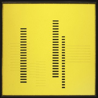 <i>Skyscrapers on Transparent Yellow, </i>Josef Albers, circa 1929, sandblasted flashed glass with black paint, 13 3/8 x 13 3/16 inches, 34 x 33.5 centimeters.