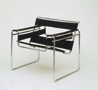 <i>Club Chair (model B3),&nbsp;</i>Marcel Breuer, 1925–1926, chrome-plated tubular steel and canvas, 28 1/4 x 30 3/4 x 28 inches, 71.8 x 78.1 x 71.1 centimeters.