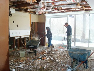 Major renovations to every surface in the house, including the ceiling - which were made of metal mesh lath covered in layers of hand-troweled plaster.