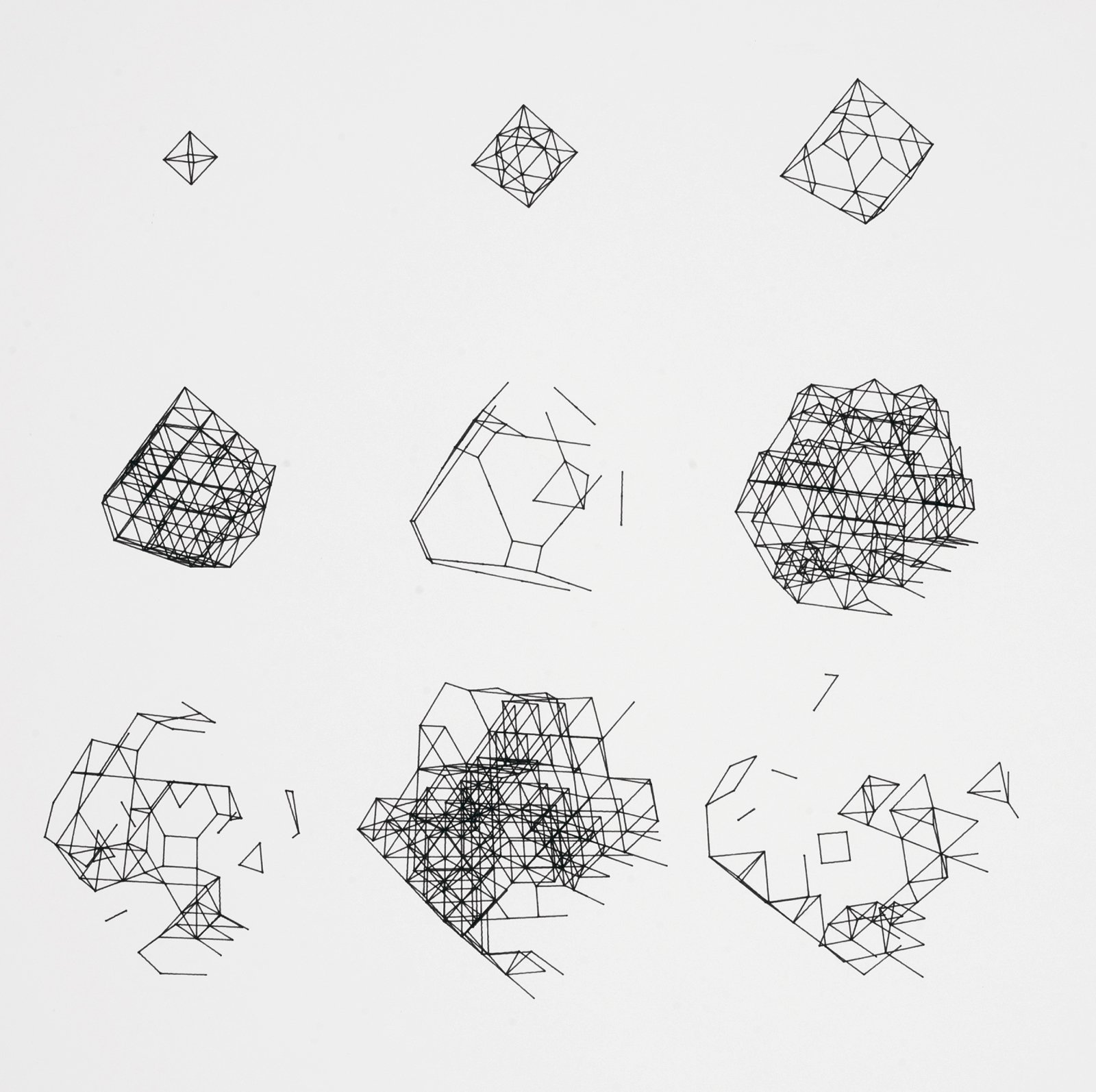 """Paul Brown's plotter drawing """"BIGDIM / 0 10 10 0 0 0 / 200,120 / 11,969"""" is an intricate progression and deconstruction of geometric shapes. 1979, from Digital Pioneers.  A Look Inside V&A Pattern by Jordan Kushins"""