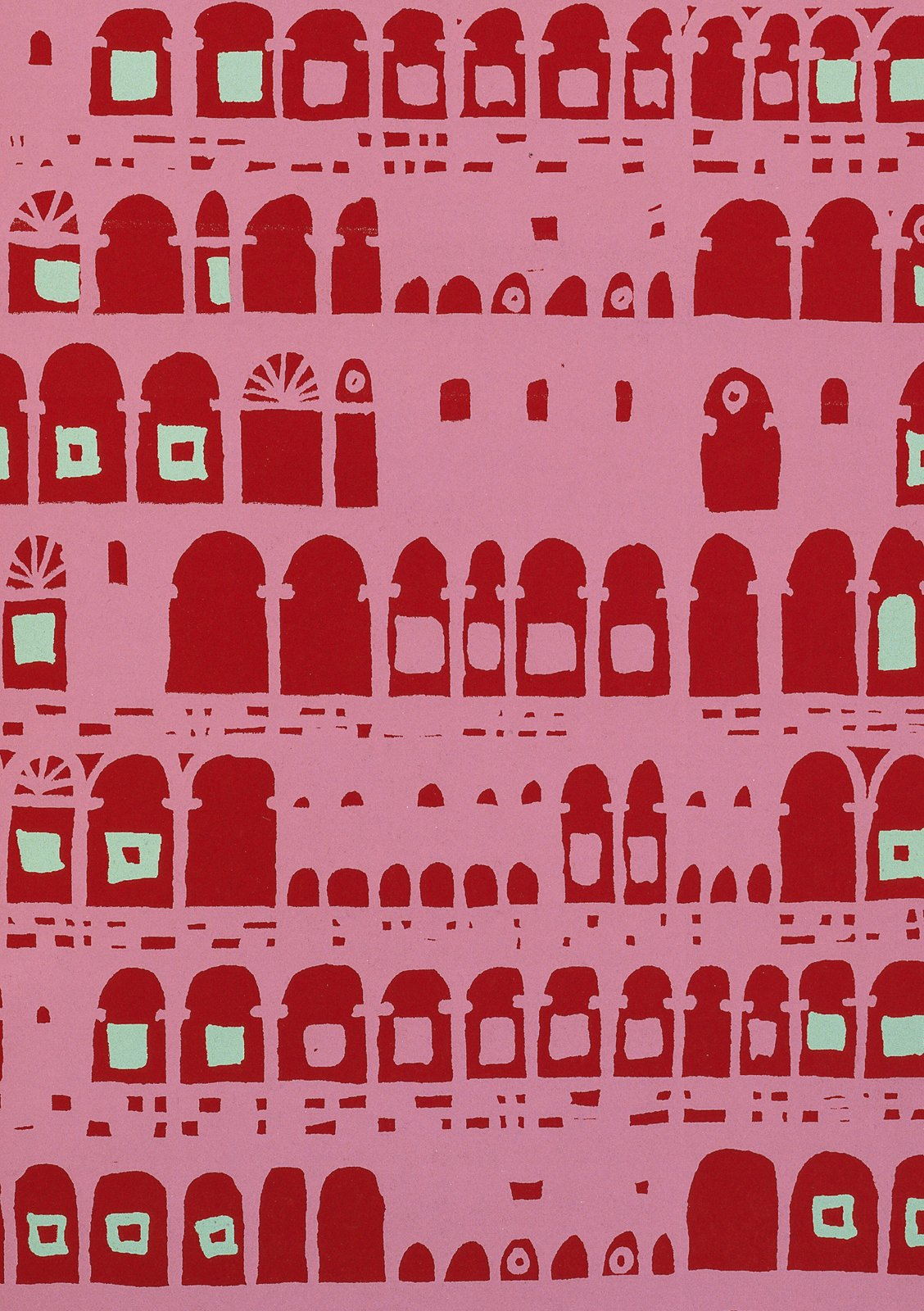 """""""Collonade"""" is a wallpaper sample that Robert Nicholson designed for Palladio Wallpapers. 1955 from The Fifties.  A Look Inside V&A Pattern by Jordan Kushins"""