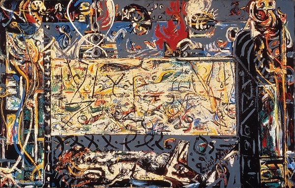 Gardians of the Secret (1943), painted by Jackson Pollock. From the SFMoMA Collection; purchased through the Albert M. Bender Bequest Fund. On display as part of the SFMoMA's 75 Years of Looking Forward: The Anniversary Show exhibit, on view through January 16, 2011.