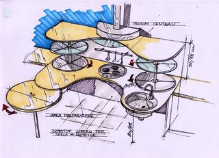 Snaidero worked with Lucci Orlandini Design to create the kitchen collection, which the company later tested by installing a kitchen in the spinal unit at the Gervasutta Institute of Rehabilitative Medicine in Udine, Italy, for patients in wheelchairs participating in rehabilitative physical therapy to test out and give feedback.