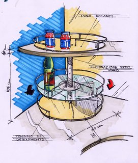 This drawing by Lucci Orlandini Design shows the countertop shelves, made of glass with built-in retainers so that items can be seen from underneath but don't fall off the edges.