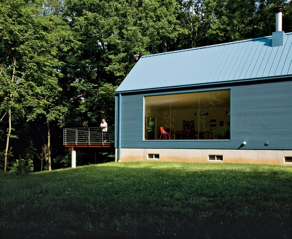 The floor-to-ceiling living-room window was inspired by Philip Johnson's Glass House.