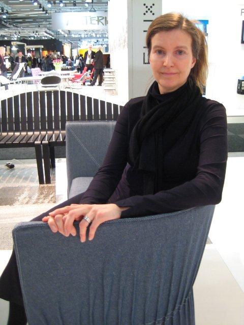 "Designer Anna von Schewen, seated on her Dress sofa.  Search ""kiki sofa 2 seater sand hallingdal html"" from Stockholm: New from Gärsnäs"