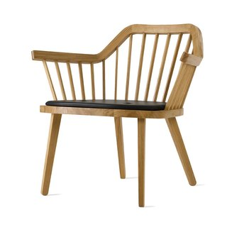 The Stick Chair, designed by Jonas Lindvall, is made of oak. Resellers and international agents can be found on the Skandiform website.