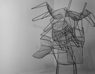 A stack of Tio chairs, part of Massproductions' first collection.