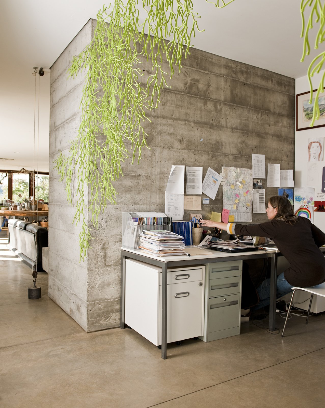 Office and Desk The open office space is partially secluded thanks to the hanging Algues by Ronan & Erwan Bouroullec for Vitra.  Photo 14 of 23 in Fertile Grounds