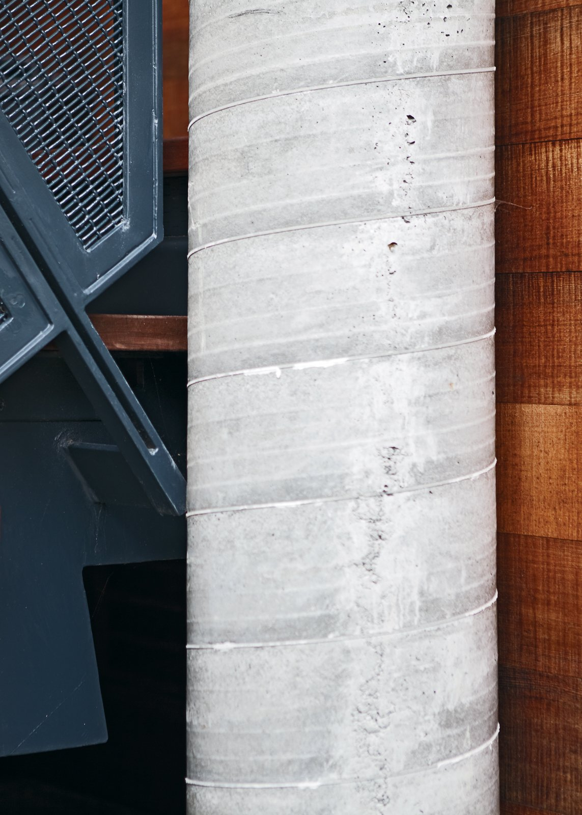 Concrete pillars are key in the event of a tidal wave.  Photo 10 of 10 in A Modern Coastal Home in Stinson Beach