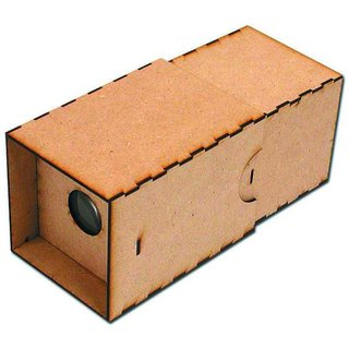 Camera Obscura KitWe got these things at Christmas time and people just went nuts for them. The ancestor of all cameras, this hand-held camera obscura projects an image onto a screen inside the box. The wooden camera is supplied in kit form and has an authentic look and feel when assembled.