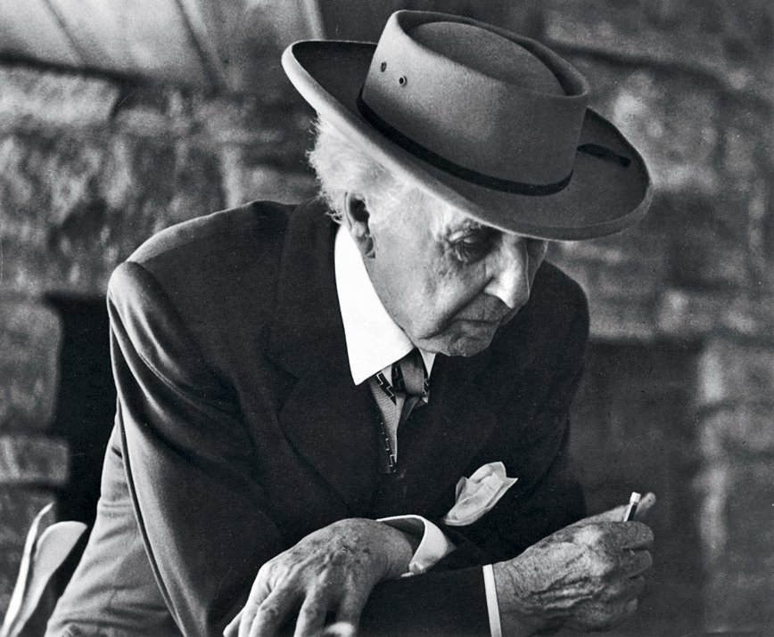 Frank Lloyd Wright at the Reisley House in Usonia, a cooperative housing development in Pleasantville, New York, 1952.  Pedro E. Guerrero by Christene Barberich