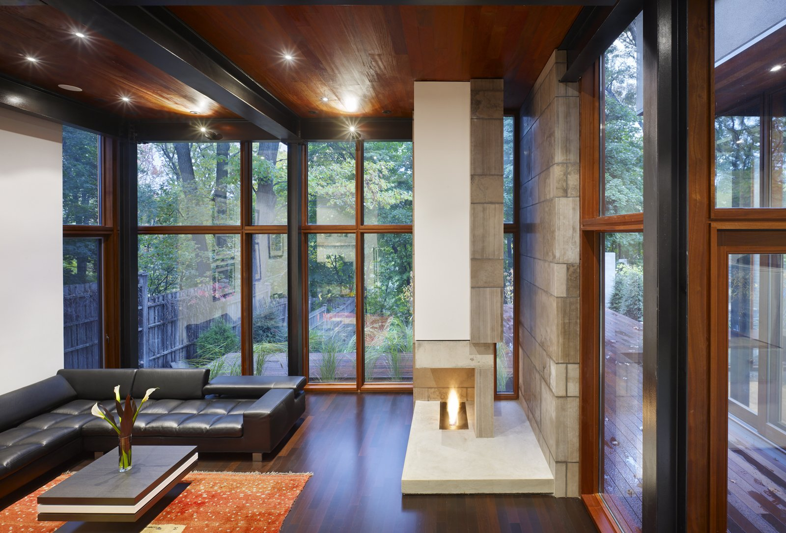 This shot of the Ravine House's interior shows its glazed back facade and clear geometry.  Photo 4 of 4 in Architecture at the Movies: Chloe