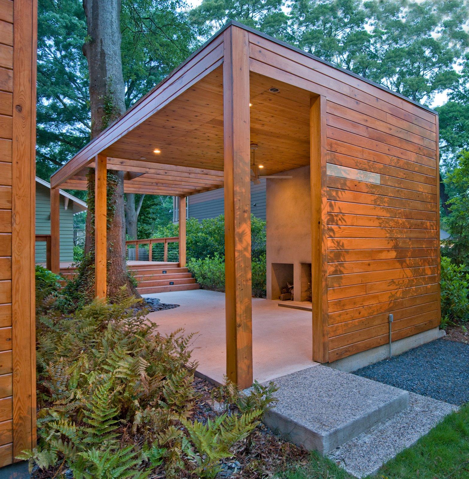 "Carpenter describes the FSC-certified cypress structure as part sculpture, part architecture, and part landscape.  Search ""charles birnbaum future landscape architecture"" from Dominey Pavilion and Carport"