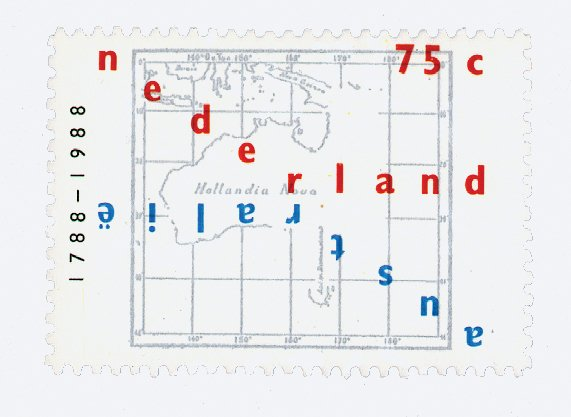 """A proposed concept for a Dutch postage stamp celebrating Australia's   bicentennial.  Search """"glass house australia's sunshine coast"""" from Dutch Master Karel Martens"""