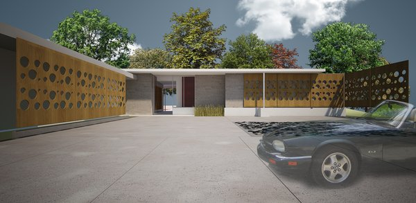 This rendering of the Reagan house in Lafayette, Louisiana, shows the thoughtful renovation of a mid-century modern home.