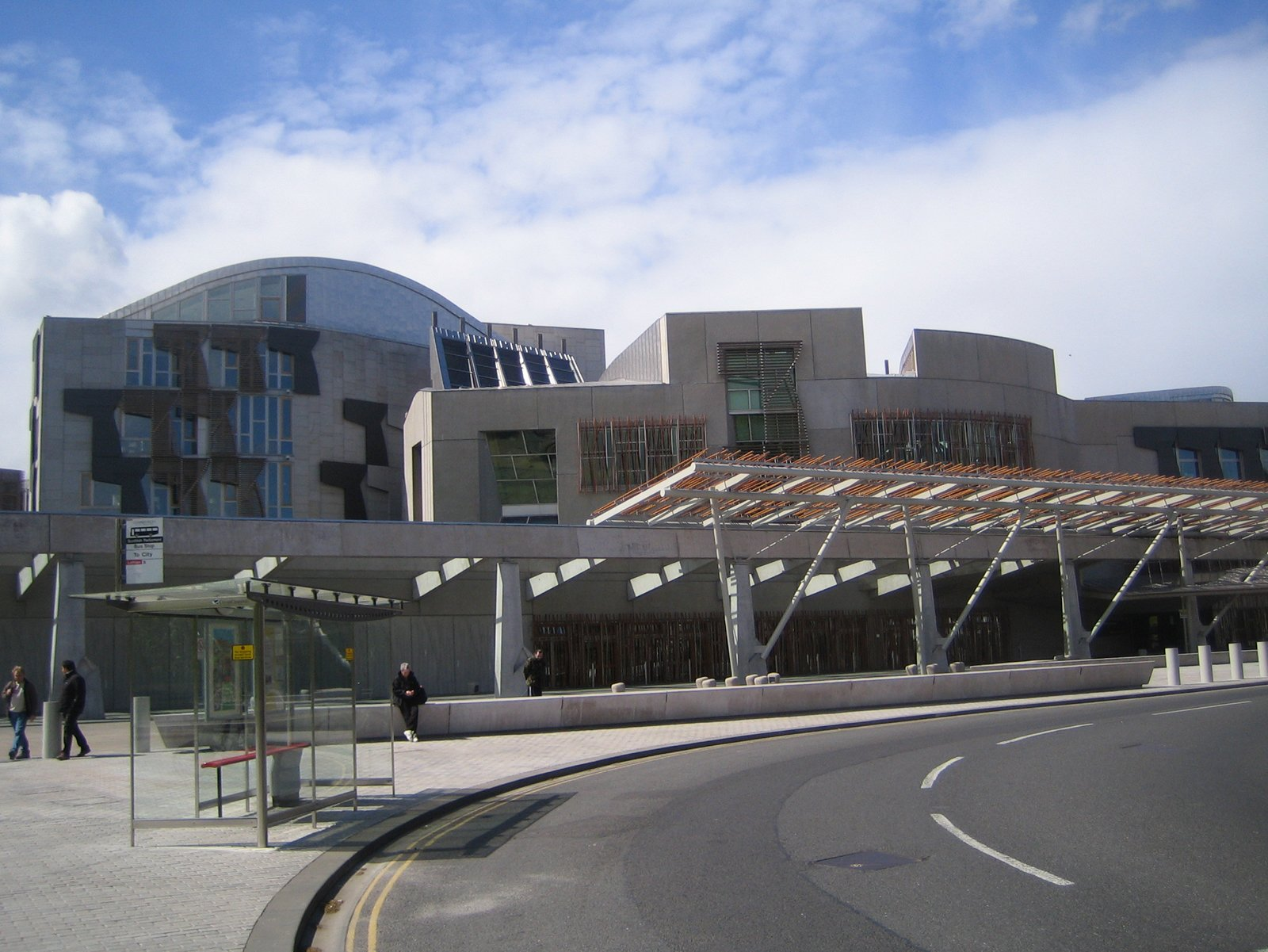 Standing out front of the Parliament it's a bit tough to make full sense of what's going on here in the late Eric Miralles's design.  Photo 4 of 11 in Scotland: Day 2