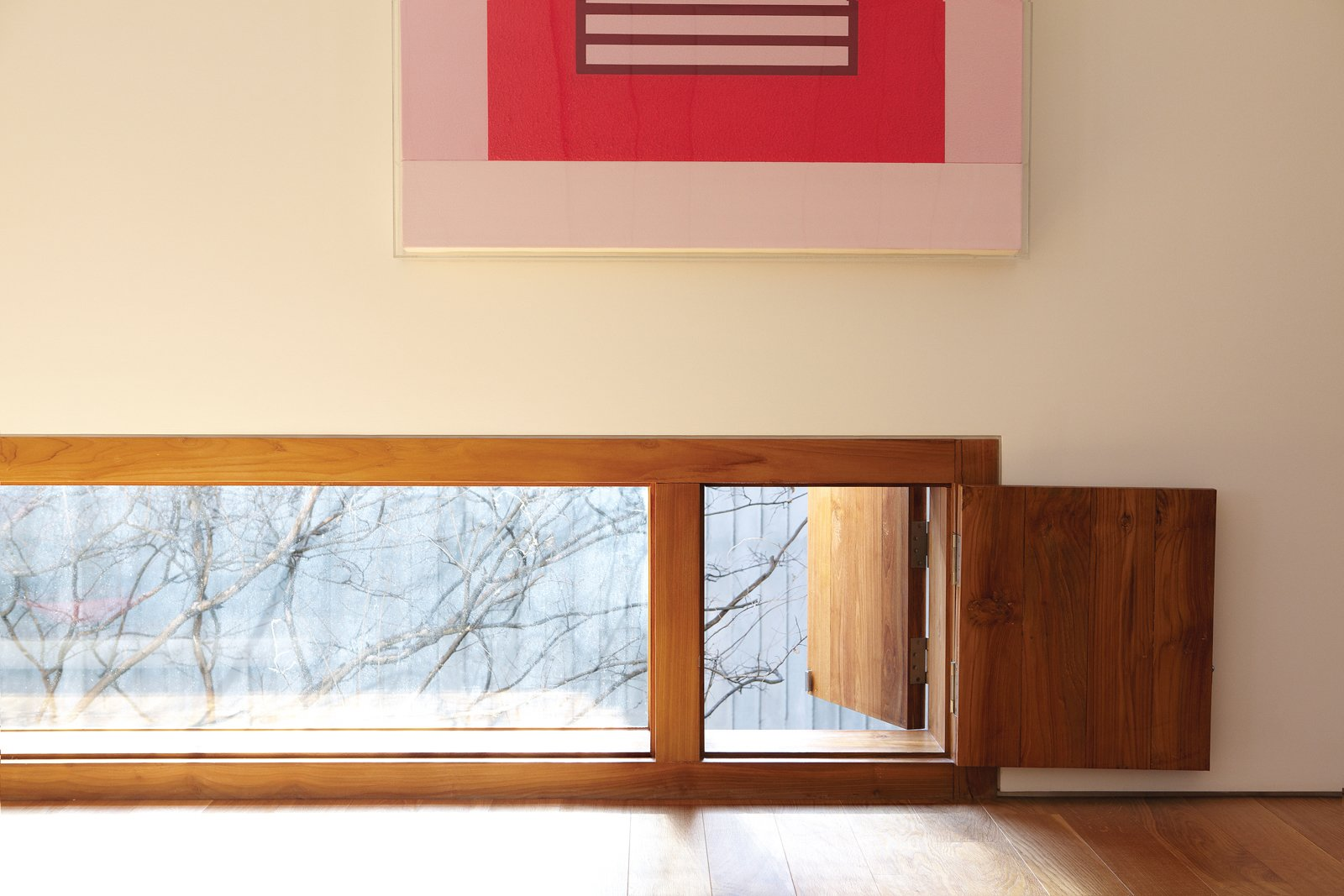 """Strategically placed wooden windows like this one is an expression of Cho's style.  Search """"byoung cho"""" from Seoul, South Korea"""