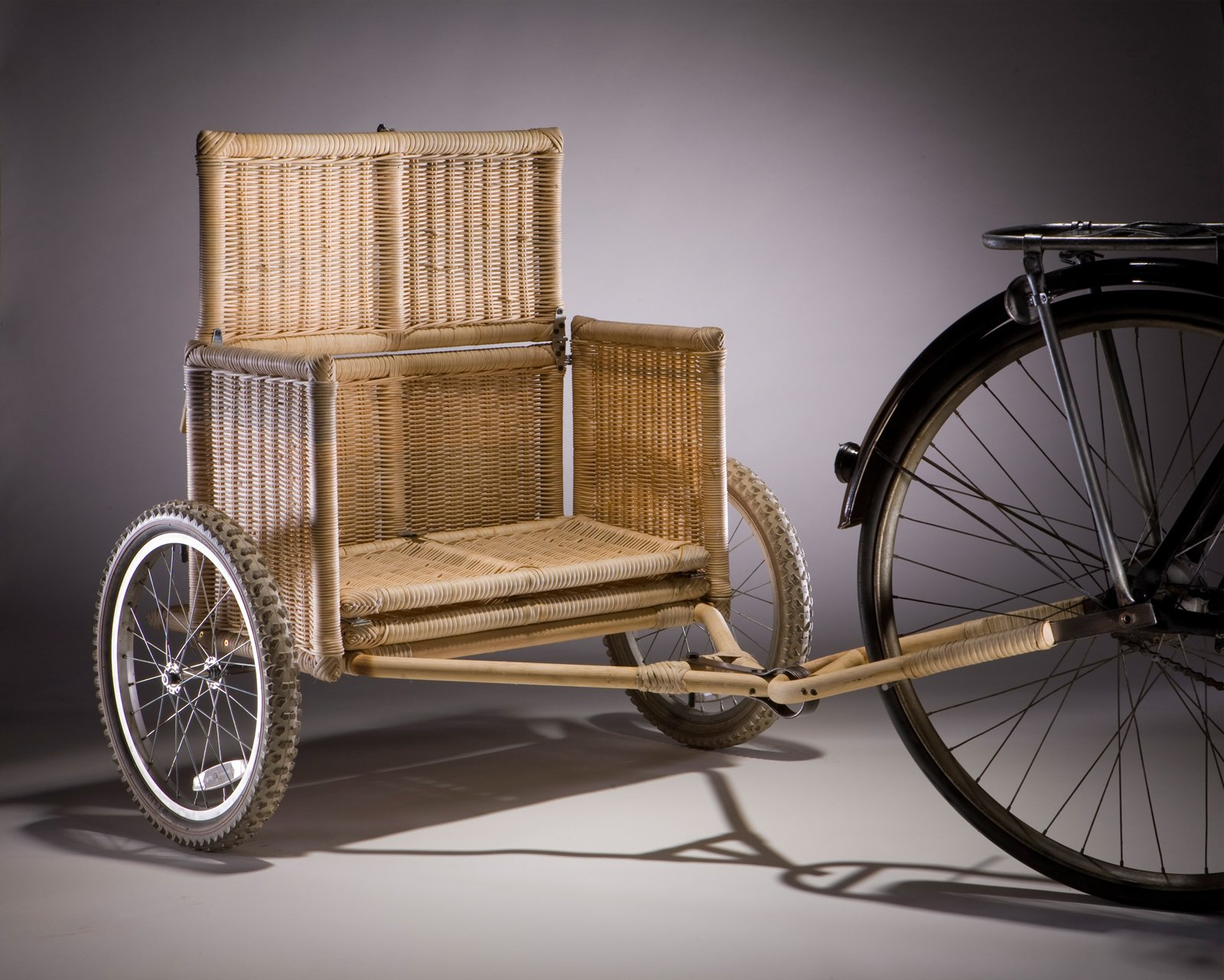 Samarth Bicycle Trailer, prototype. Radhika Bhalla (Indian, b. 1983). Designed United States, deployed India, 2008–present. Locally sourced bamboo, rattan, iron, jute, coconut fiber, wheels. Photo: Vahe D'Ala  Bicycle, Bicycle from Why Design Now?