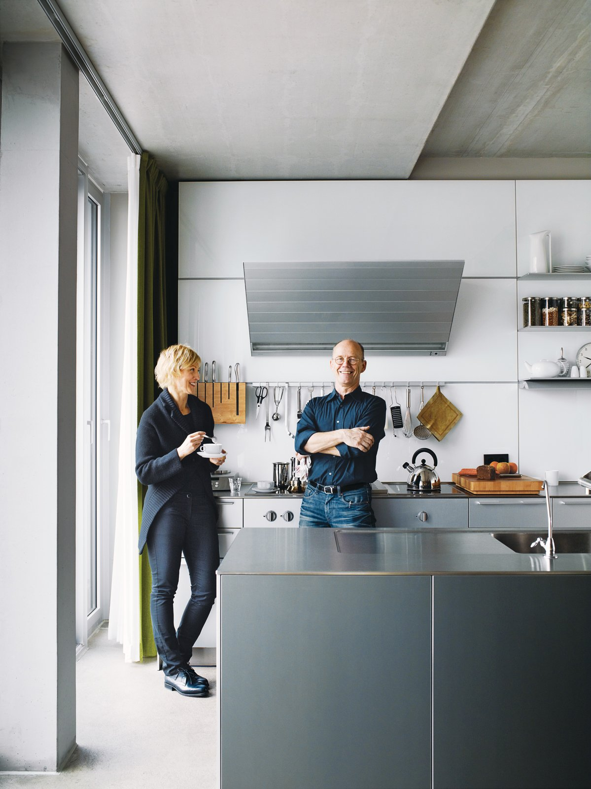 Kitchen and Metal Counter Spiekermann and Dulkinys agree that their house—the first they've built from the ground up—is definitely different.  Graphic Designers We Love by Aaron Britt from A Rational Approach