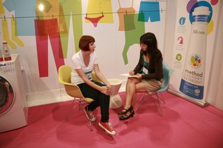 Associate editor Miyoko Ohtake somehow managed to stop by the method booth to chat with the company's design director, Sally Clarke. Read their interview here.