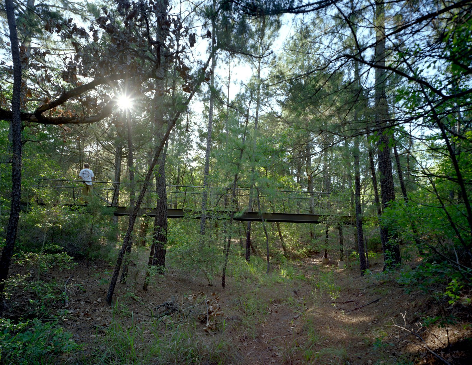 Near the bunkhouse, Panton built a wood-and-steel footbridge spanning 90 feet across another dry creek leading to the path to a swimming pool and outdoor bathhouse.  Texas Bunkhouse by Erika Heet