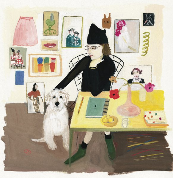 This is one of Kalman's best, and gets to the heart of her work and the worldview it suggests. Entitled, Self Portrait with Pete, it shows her at home with her beloved dog. One of the best bits of the Kalman show at the Contemporary Jewish Museum is a video Kalman's son made of her playing the accordion for Pete, who looks to be lulled into a hilarious stupor by the woozy waltz.