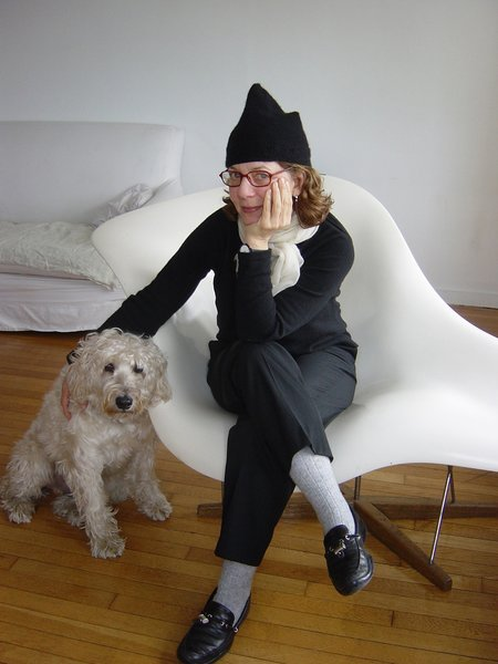Here's a photo of Maira Kalman and her beloved dog Pete. Portrait courtesy of Rick Meyerowitz, who you can hear chatting with Maira about the New Yorkistan New Yorker cover they did together at the show.