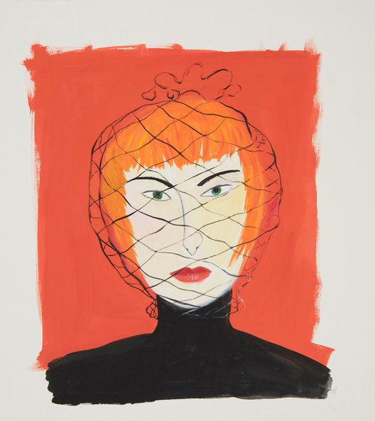 Woman with Face Net is the image the Contemporary Jewish Museum is using to promote the show Maira Kalman: Various Illuminations (Of a Crazy World).