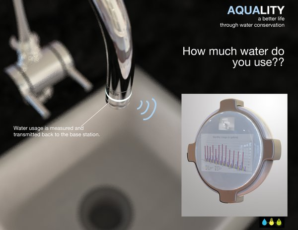 """Aquality  Submitted by Timothy Daw and Jake Bjeldanes, Industrial Designers  Description: water tracking system that syncs to computers to tell consumers how much water they use  Designers' statement:  'The Aquality water tracking system is a measurement tool identifying all of your household water consumption. The three part system helps you track your water use, identify areas of waste and suggest methods of conservation.    The Aquality system consists of three components: the flowmeter, the base station & your home computer or smartphone.  The standard sized flowmeter ring with adapters is installed at every water terminal in your house. It uses a turbine to both assess the amount of water passing through and to gather power to transmit the signal wirelessly to the base station.  The base station is easily mounted in an accessible common area, such as on the refrigerator door, so that users can access the compiled data in graphical and numerical displays. And lastly, the Aquality system includes software for your personal computer in order to organize and  calibrate your water conservation system.  Aquality addresses the problem of intending to conserve water without any feedback by providing hard data about all of the water consumed in your household. By tracking usage, consumers are able to understand better where water is being used and what techniques are working to conserve water."""""""