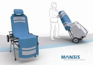 Mantis is a fully adjustable portable dental chair that also doubles, when collapsed, as a dolly to carry bulky and heavy equipment. It was designed with non-profit medical organizations in mind; it can be carried as luggage rather than airlifted into the field.