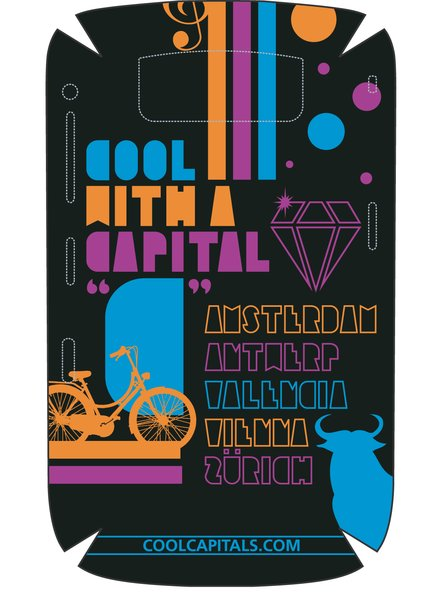 """Cool with a Capital """"C""""  Submitted by Giuseppe Saltarelli  Designer's Statement:  """"The slogan """"Cool with a Capital C"""" and my custom made font illustration dictated the style of the design. After that the challenge was to take something from each Capital and make it work together. For Amsterdam I went with their signature bicycle, for Antwerp it was the diamonds they are famous for, Valencia, I chose to go with the Bull, for Vienna where Mozart came from and is the music capital of the World I went with the Treble Clef and finally for Zürich I decided to add circle spots which represents the Swiss cheese holes and/or pieces of chocolate. The choice of colour was another challenge where I wanted to go with a feminine colour that men would not be embarrassed with. I think it worked."""""""