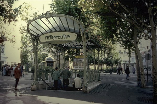 Three stations today still boast Guimard's fan-shaped glass awnings, called édicules, as shown here at the Abbesses station in Montmartre. Photo courtesy of  The Design of the Paris Metro by Tiffany Chu