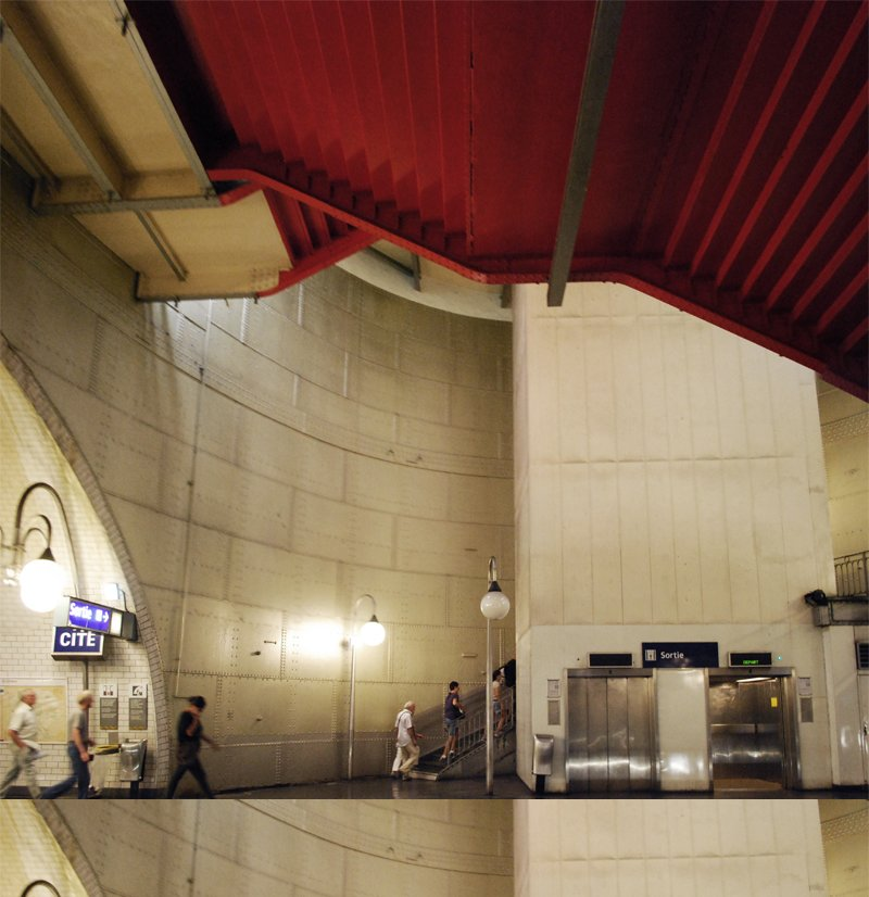 With green lighting and red staircases, the Cite metro (which serves Île de la Cité, the island on the Seine where Notre Dame sits) is one of the deepest and most awe-inspiring stations, designed with the concept of a giant riveted tank.  Photo courtesy of Tiffany Chu  The Design of the Paris Metro by Tiffany Chu