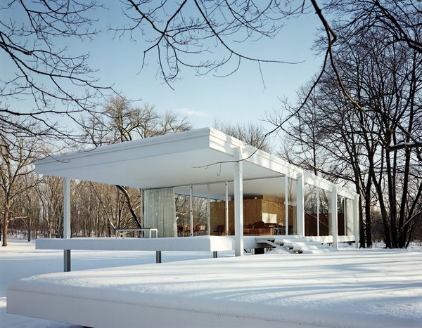 Here's the cover image in all its glory. Van der Rohe's Farnsworth House is the essential glass house (sorry Philip J) and looks pretty spectacular in the snow. One wonders if those windows are double-paned though. Photo by Jason Schmidt.